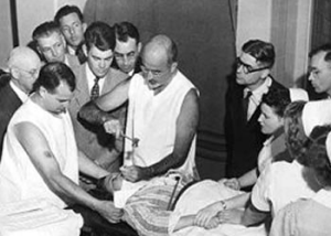 "Until he was banned from California, Dr. Walter Freeman performed 3,500 ""ice pick lobotomies"" through patients' eye sockets."